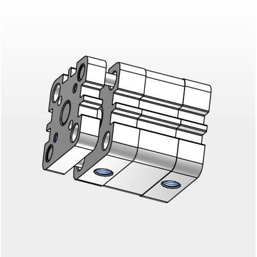 Cilindro Compacto ISO Con Guía Doble Efecto Magnético Vástago Acero Cr Ø025X0025