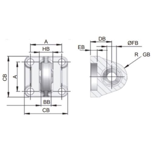 Charnela Macho Rotula ISO Ø32
