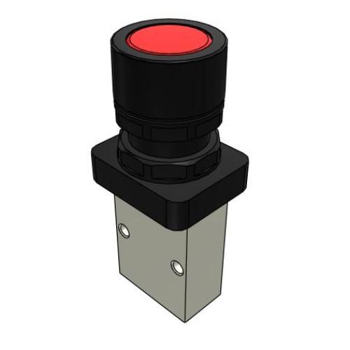 Microválvula Pulsador Rojo 3/2 Normalmente Cerrada M5