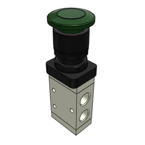 Microválvula Pulsador Seta Verde Sin Enclavamiento 3/2 NC 1/4