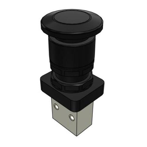 Microválvula Pulsador Seta Negro Sin Enclavamiento 3/2 Normalmente Cerrada M5