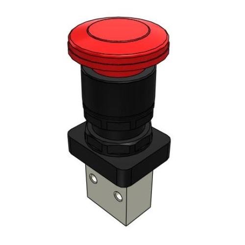 Microválvula Pulsador Emergencia Con Enclavamiento 3/2 Normalmente Cerrada M5