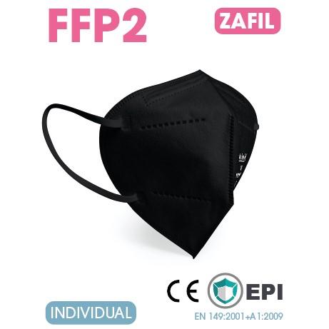 Mascarilla FFP2 Plegable Negra Caja 25 Unidades (Envasadas individualmente)