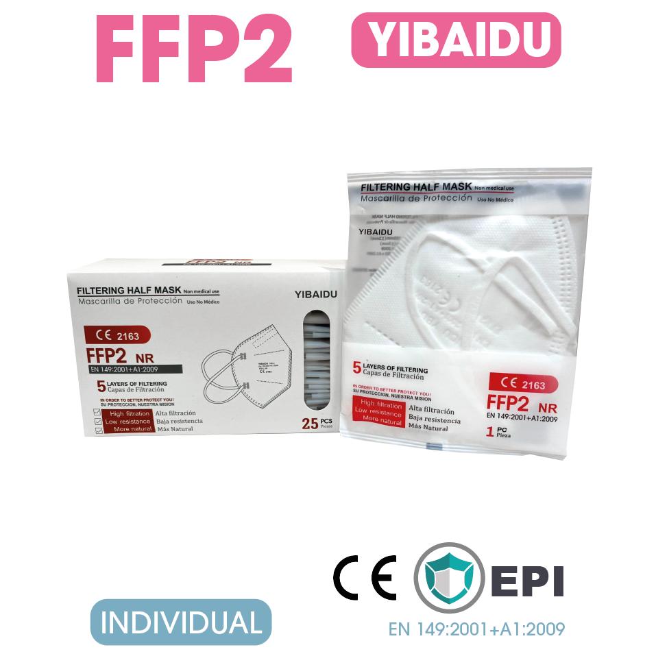 Mascarilla FFP2 Plegable Blanca Caja 25 Unidades (Envasadas individualmente)